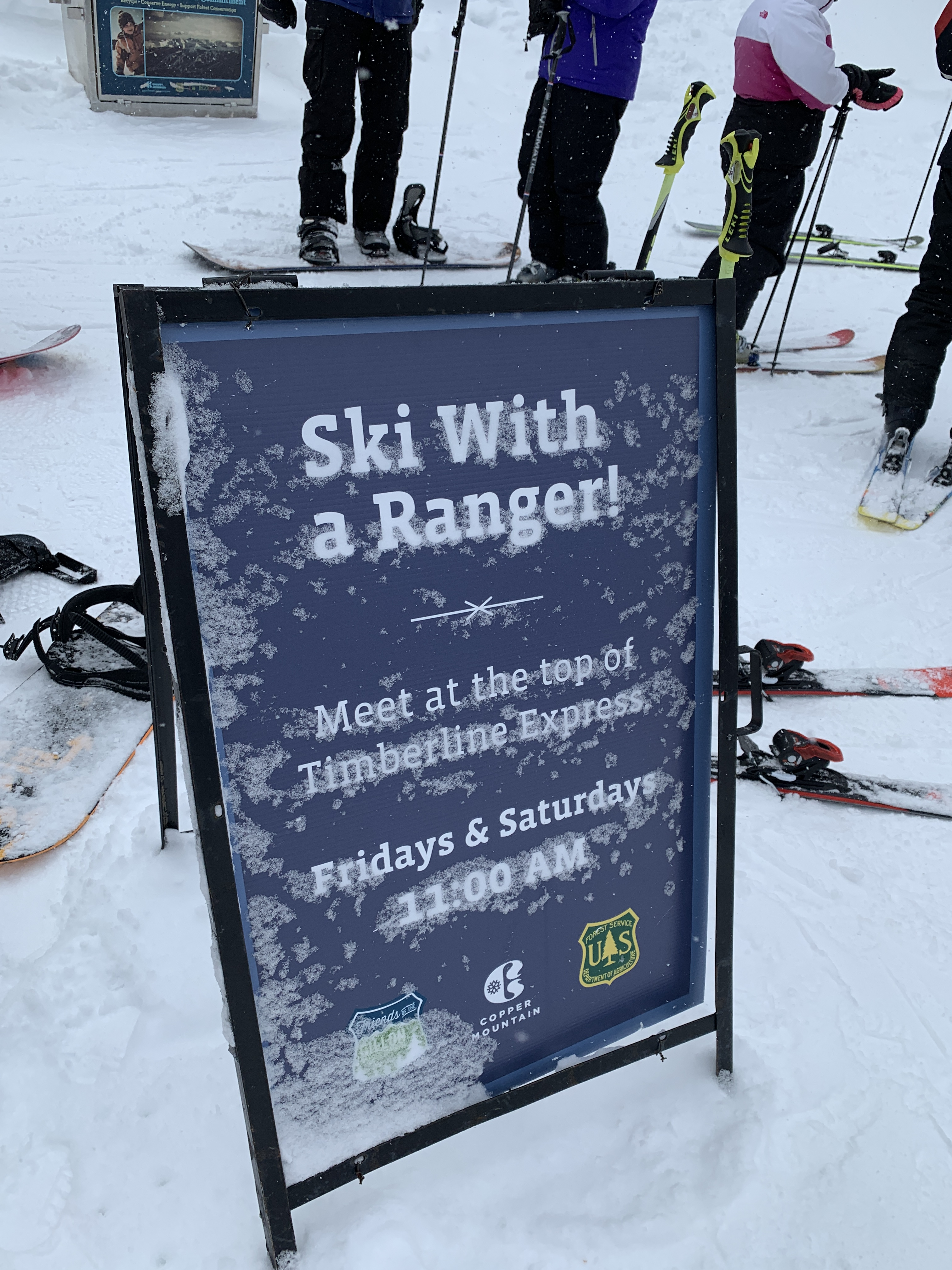 Sign where to meet for Ski with a Ranger at Copper