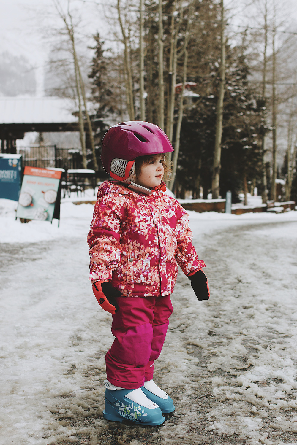 A child gets ready for her day of skiing at Copper Mountain