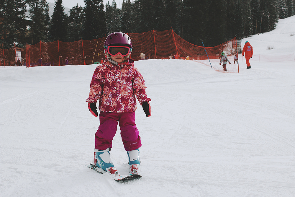 A child makes her way down the mountain at Copper Mountain Ski Resort