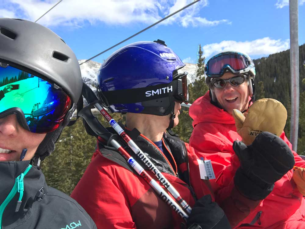 Dennis Meeker gives Copper Ski and Ride school students pointers
