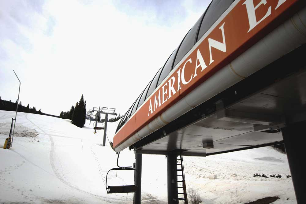 A view of the base terminal of the American Eagle chair lift at Copper Mountain