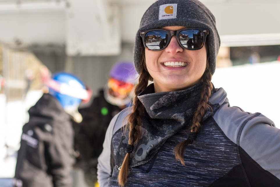 Lift operator Erin VanProoyen smiling for the camera at Copper Mountain