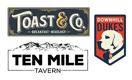 logos for downhill dukes, toast & co, ten mile tavern