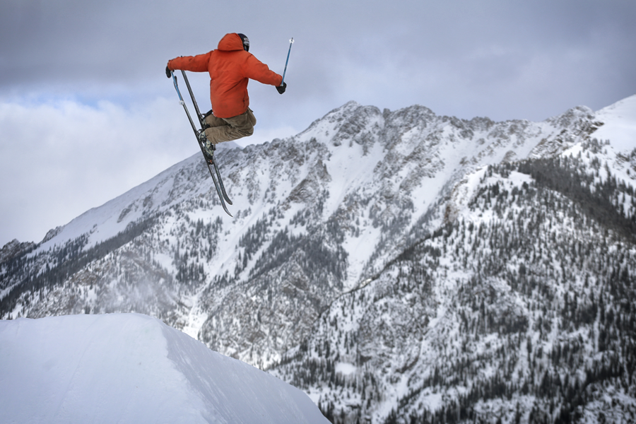 Skier competes in 10 Barrel Hella Big Air at Copper Mountain