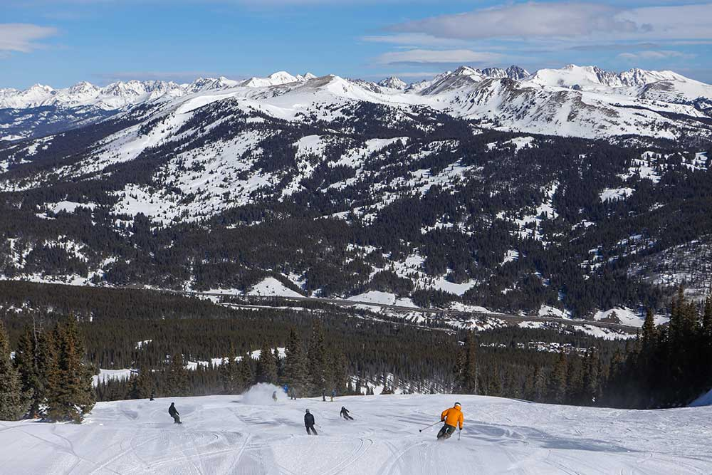 A view of the Gore Range from a top Copper Mountain Resort in Summit County, Colorado