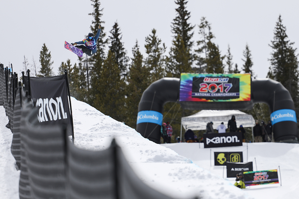 An snowboarder competes in the halfpipe at the 2017 USASA National Championships at Copper Mountain, Colorado