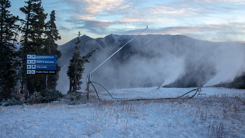 A view of snowmaking efforts at Copper Mountain on 10/7/18